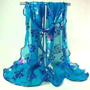 Accessories - Flower Lace Gauze Veil Wrap Scarf